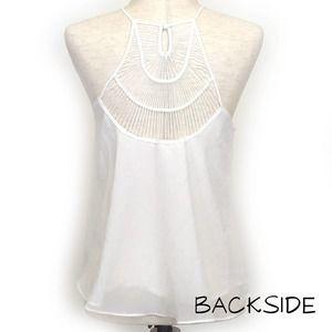E (Hanger) M White Strappy Open Back Top Sz SM